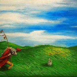 Der König der sein Amt niederlegte, neue Pfade beschritt und sich auf die Suche nach dem Blauen Schmetterling begab. (40cm x 60cm)
